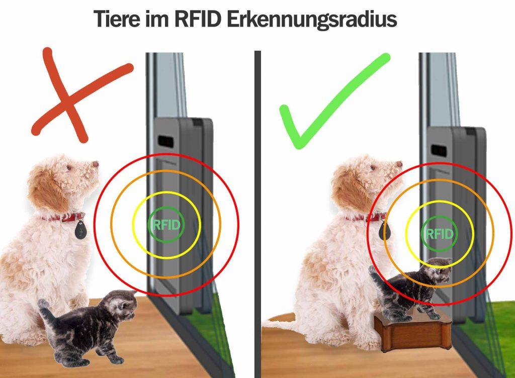 RFID Erkennungsbereich der petWALK Tiertüre